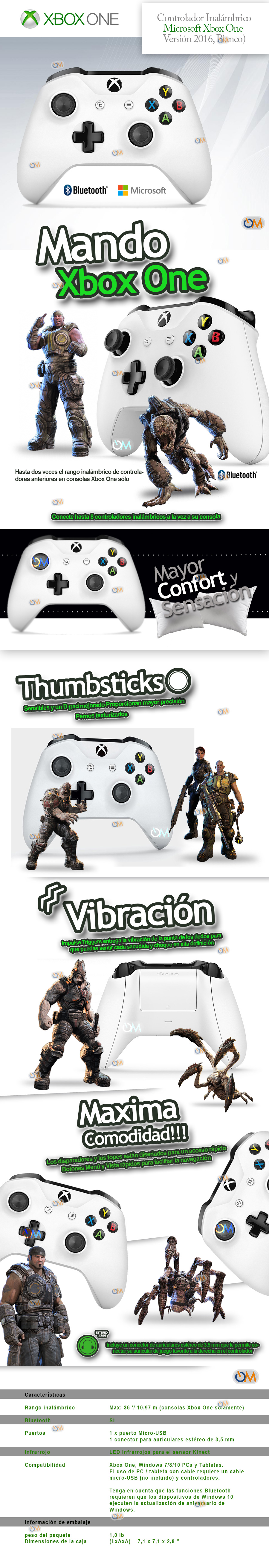 Joystick Control Xbox One Wireless Microsoft Original Blanco